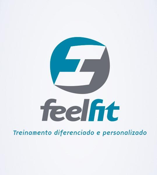 Dois F's espelhados e invertidos formam o haltere da marca da academia Feel Fit, localizada emCachoeiras de Macacu, RJ.…