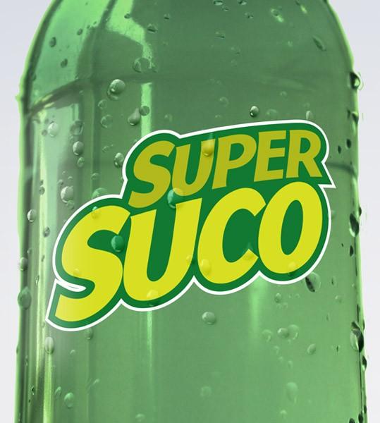 """Criação da marca e aplicação de rótulos e cartazes para a empresa Super Sucos e seus produtos """"Sabor da Fruta"""" e """"Sabor do Mate""""…"""