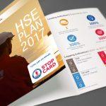 Folder para divulgaçaõ do plano de HSE da Total em 2017.